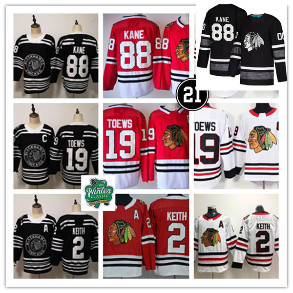 eeab56f2b7c Mens  2 Duncan Keith  19 Jonathan Toews Chicago Blackhawks 2019 Winter Classic  Jersey  88 Patrick Kane 2019 ALL-STAR Blackhawks Jersey