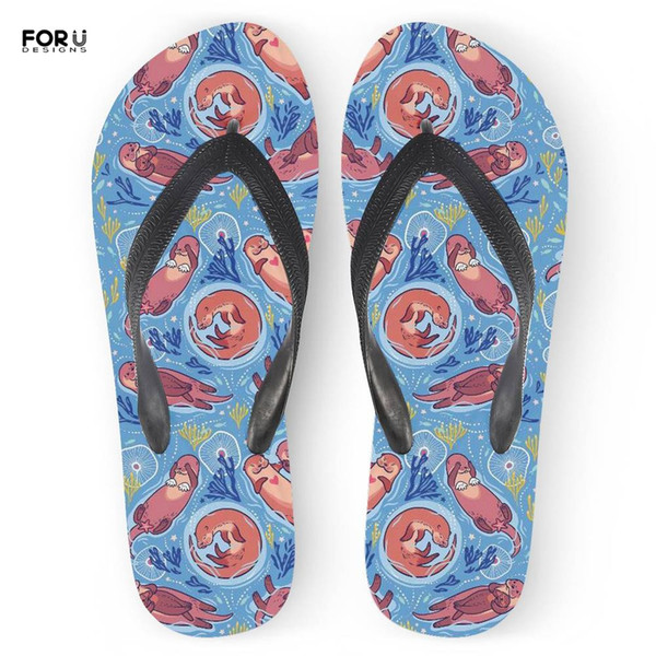FORUDESIGNS Summer Ladies Flip Flops Flats Cute Otter Printing Fashion Home Slippers for Teenage Girls Rubber Beach Sandals 2019