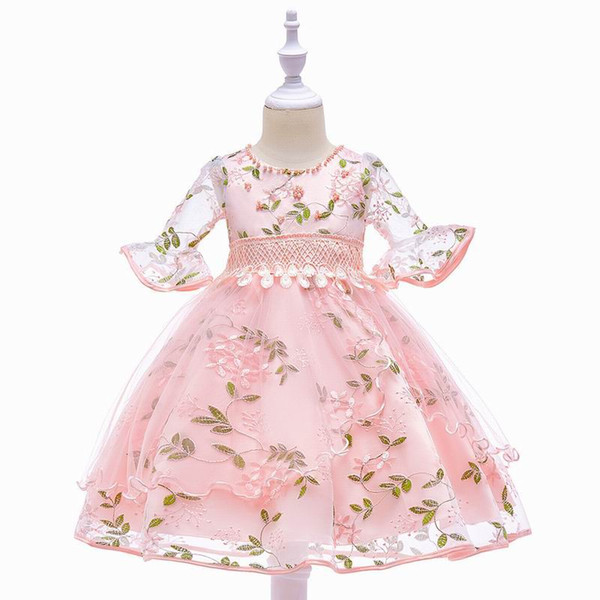 2019 New Style Half Sleeves Embroidery Flower Party Dress for Girls Children Elegant Princess Dress 0-8 Years E5015