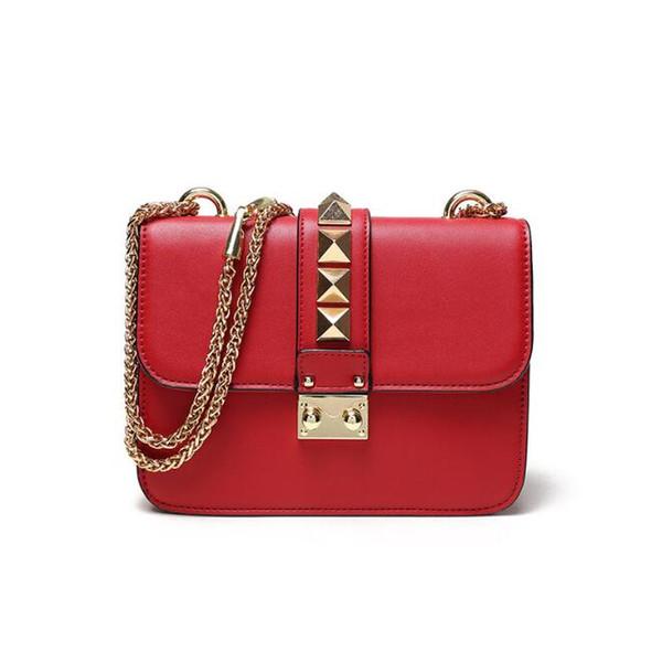 2019 Fashion Designer Handbags High Quality Valentine Italian Genuine Leather Bag Rivet Chain Crossbody Bags For Women Shoulder Bags