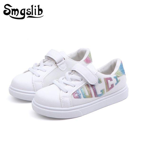 Zapatos casuales para niños, niñas blancas, zapatillas de deporte para niños, 2019, primavera, otoño, niños, bebés, zapatillas deportivas, zapatos de cuero de la pu, Y190525