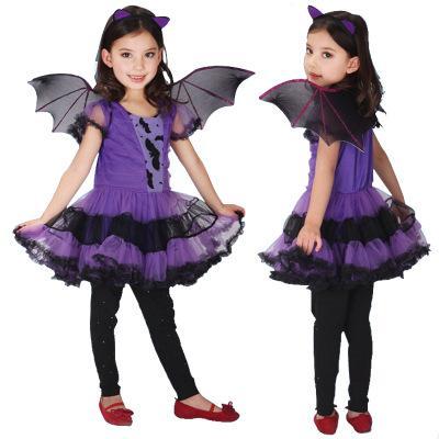 Hot Fancy Masquerade Party Bat Cosplay vestido bruja ropa disfraz de Halloween para niños niñas con alas diadema vestidos de niña B1