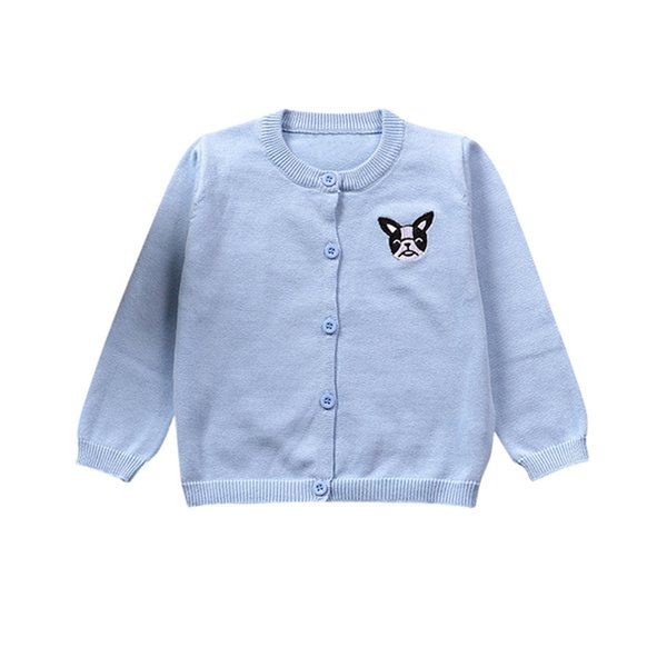 Малыш Детские Вязаные пальто Мальчики Девочки Сплошной цвет мультфильм вышивка собака свитер Кардиган Симпатичные длинным рукавом Одежда