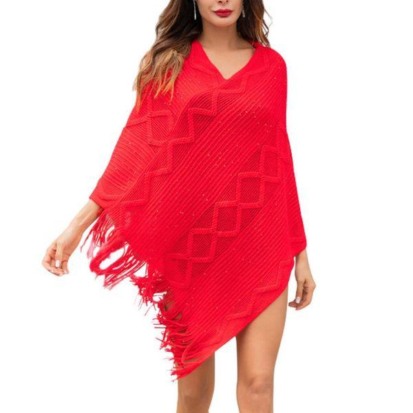 Fashion Tassels Knitted Women Warm Wrap Winter Autumn Cape Loose Jacket Shawl new