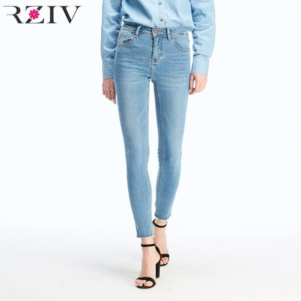 Rziv Jeans de cintura alta Mujeres Pantalones de mezclilla elásticos grandes Jeans ajustados Casual Color sólido Slim Jeans Y19072301