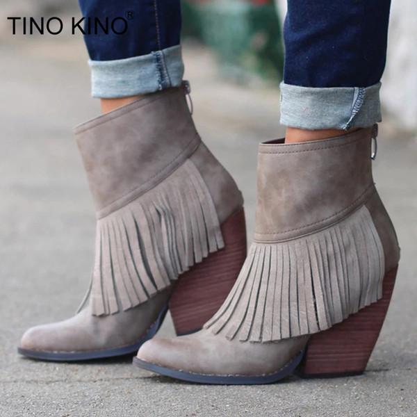 TINO KINO 2019 Femme Glands Bottines Femmes Automne Zip Chaussures Femme Cuir Carré de Pu Hauts talons Femme Mode Bottes nouvelles