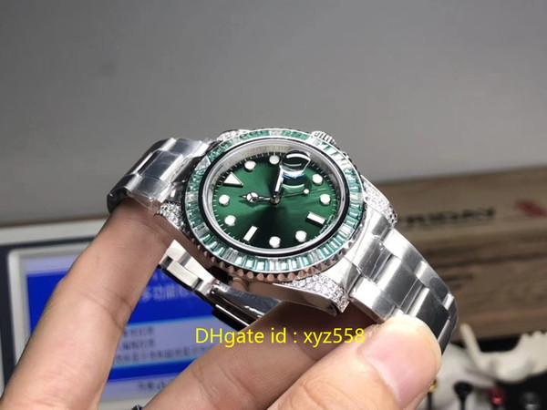 Горячие Роскошные мужские часы Зеленый циферблат Алмазный Автоматическая наручные часы Сапфир Диаметр 40мм Большой Марка Самое лучшее качество Мужской Часы швейцарские Просмотрам