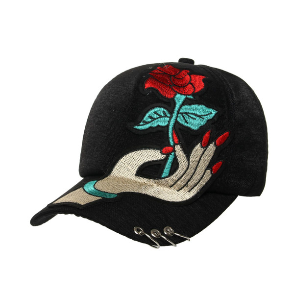 Metal Hoop Rose Caps Sailor Dance Baseball Cap Female Sunscreen Outdoor Sunshade Black Casual Hat Hip Hop Snapback Hats
