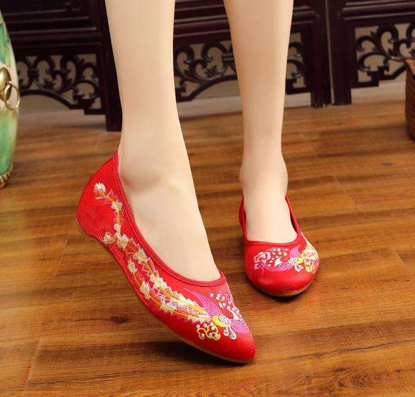 Designer Kleid Schuhe Neue 2019 Chinesischen Stil Frauen Frühling Herbst Gestickte Blumen Außerhalb Leinwand Casual Patchwork Stickerei Heißer Verkauf