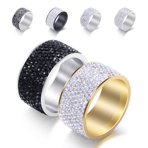 Anel de diamante de aço de titânio clássico para mulheres / homens 8 linha com anel de aço inoxidável rhinstone anéis europeus e americanos
