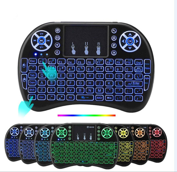 top popular 50pcs Rii I8 Backlit Wireless Keyboard Backlight Air Mouse Remote control With Touchpad For X96 Mini Max Android TV Box 2021