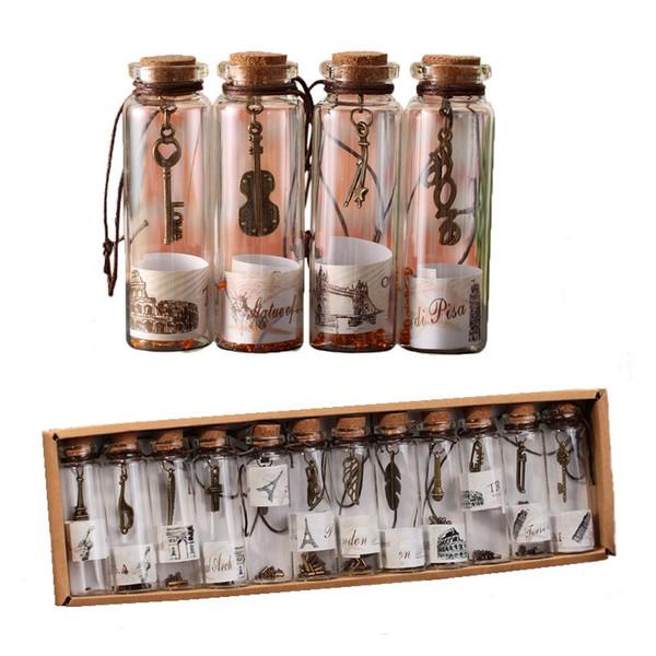 Botella de vidrio transparente con tapones Vintage Vial Frascos de vidrio Proyectos artesanales de bricolaje para recuerdos 20 mm de diámetro (12 unidades / caja)