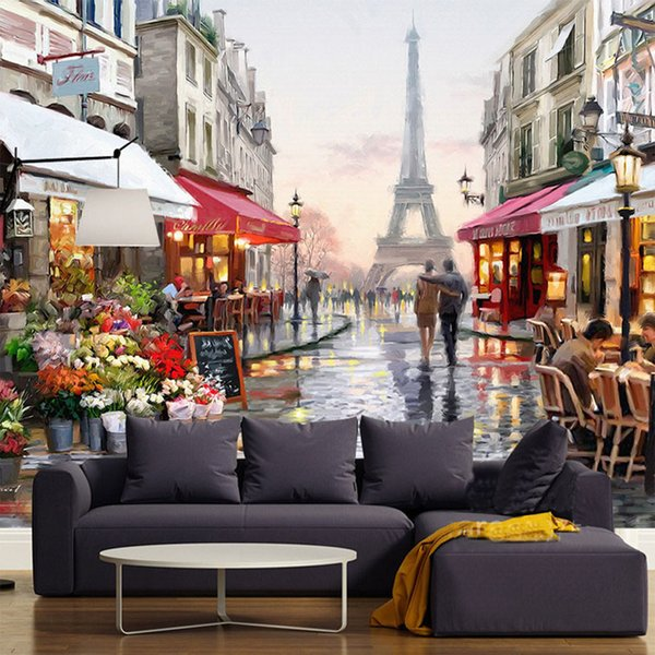 Custom Murals European Style Eiffel Tower Romantic Street Oil Painting Mural Backdrop Bedroom Living Room Wall Papers Home Decor