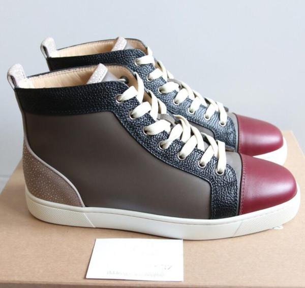 Chaussures de baskets montantes en cuir véritable pour femmes, hommes, chaussures montantes, culottes basses rouges, boîte d'origine, sac de transport, EU: 35-47