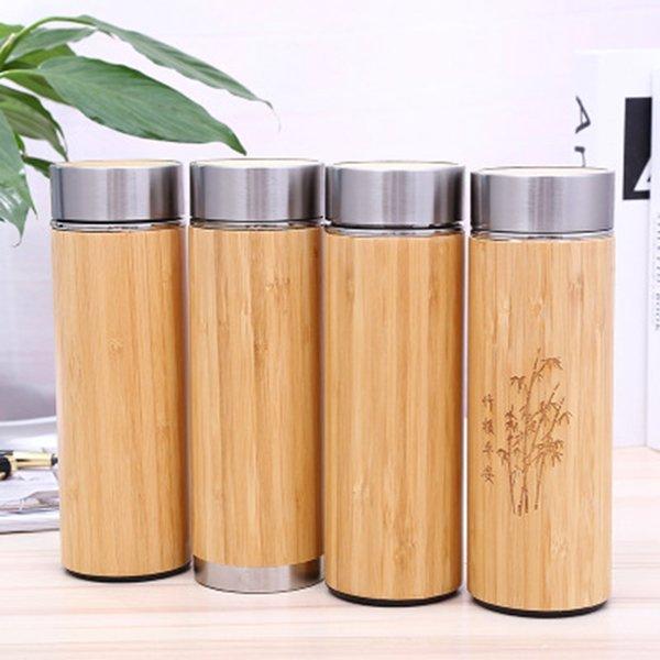 Bambou Bouteille d'eau en acier inoxydable à vide Coupe d'isolation avec le thé infuseur Passoire 350ML 450ML Bamboo Cup ZZA1656