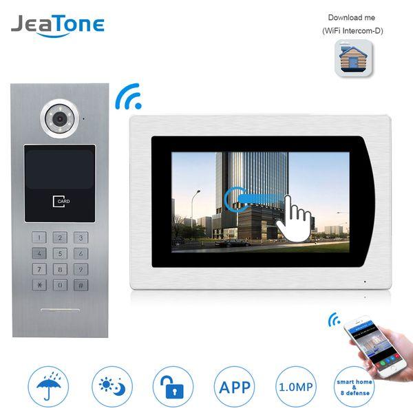 JeaTone 7''WIFI IP Videocitofono Citofono Touch Screen Monitor per Building Access Control System Support Password / Scheda IC / Telefono iOS