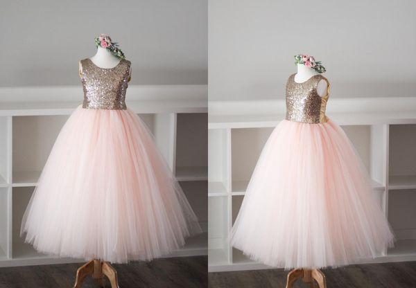546bc08e792 Charming Rose Gold Sequins Flower Girls Dresses Blush Tulle Tutu Skirt  Toddler Jewel Pageant Prom Formal