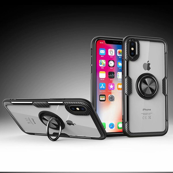 Clear Acrylic Finger Ring Phone Case For iPhone X XS Max XR Case Soft TPU Bumper Silicone Cover For iPhone 6S 6 7 8 Plus