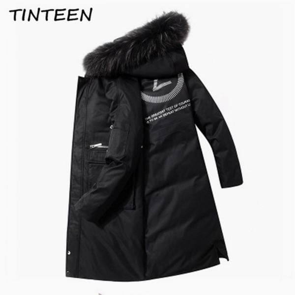 TINTEEN 2019 Fashion Winter New Jacket Men Warm Coat Fashion Casual Parka Medium-Long Thickening Coat Men For Winter GC642