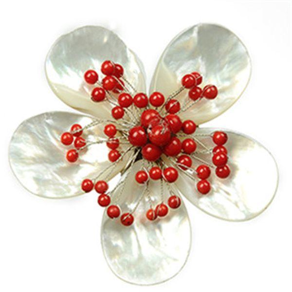 Ручной работы цветочный дизайн красный коралловый шарик женская брошь натуральный перламутр Белая Ракушка броши 5 шт.