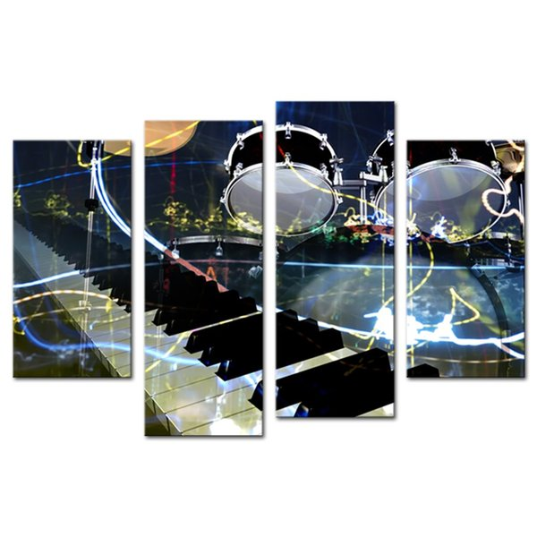 4 Panel Piano Instrument Canvas Prints Wall Art Decoration Painting contemporary Artwork Living Room Home Decor