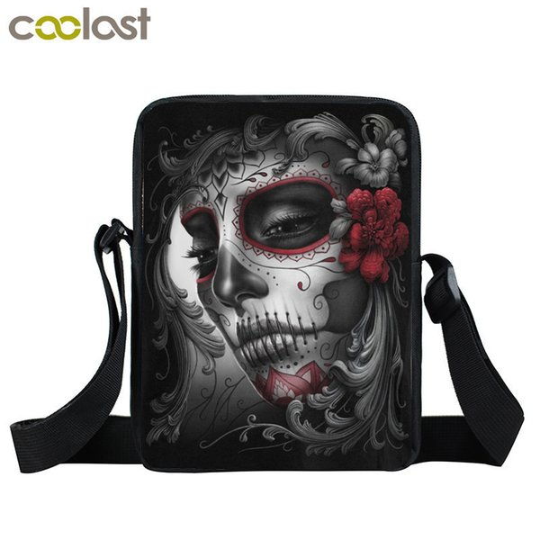 Gothic Women Messenger Bag Skull Boys Girls Shoulder Bag Children School bags Portable Cool Mini Crossbody Bags Kids Best Gift