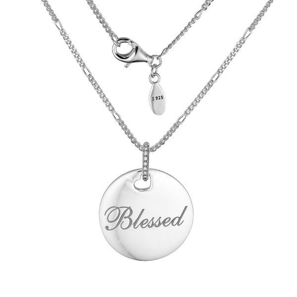 Atacado Jóias Real 925 Sterling Silver Blessed Disc Colar Moda Colares para As Mulheres DIY Encantos Jóias Inverno Mais Novo