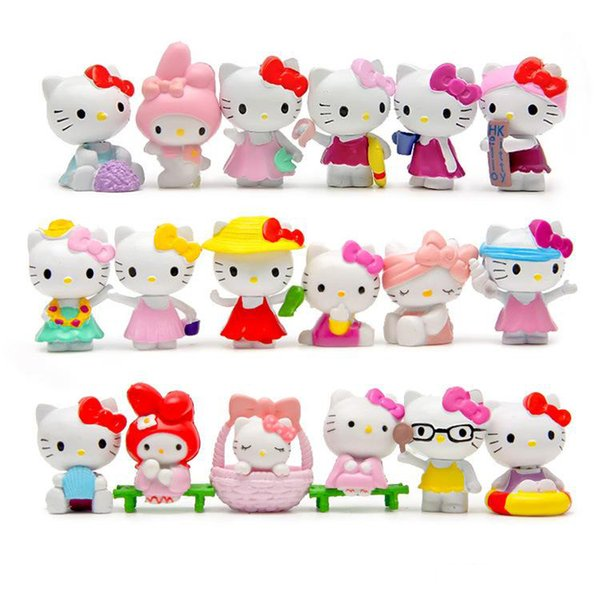 2017 hot sell 18type KT cat action figures Cute cartoon Figures PVC Seaside Beach toys a set of eighteen pendant
