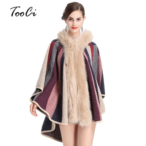 Cappotto con mantello con cappuccio in pelliccia di volpe sintetica Autunno Inverno Moda Cardigan lavorato a maglia Maglione di lana e cashmere Cappe e poncho da donna