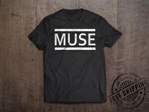 Novo MUSE Alternativa Rock Band Logo dos homens T-Shirt Preta Tamanho S para 6XL