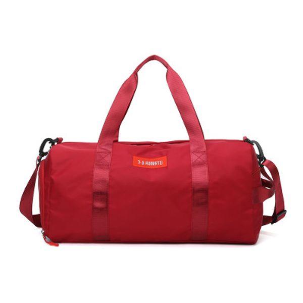 Sports Fitness Women's Yoga Bag, Dry and Wet Separable Shoes One Shoulder Training Bag, Cylindrical Short Travel Handbag.