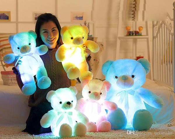 30 cm 50 cm led colorido brilhante urso de pelúcia brinquedos de pelúcia luminosa Kawaii Light Up LED Teddy Bear animais de pelúcia boneca crianças brinquedos de natal