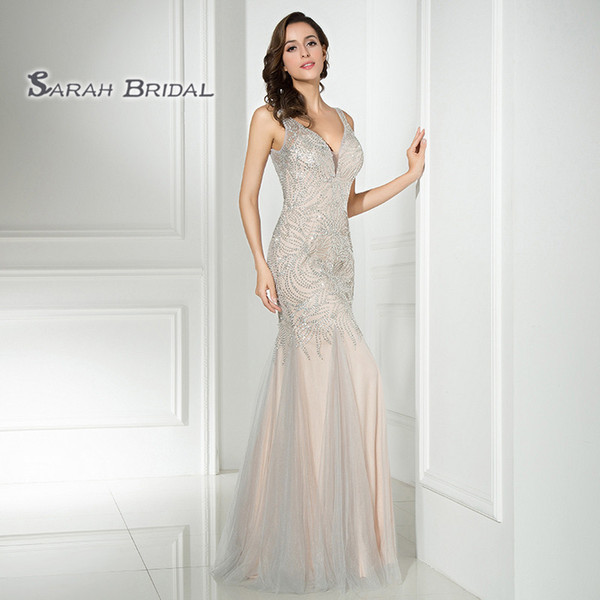 Luxury Tulle Silver Mermaid Crystals Prom Beading Party Dresses 2019 Sexy Sheer Bodice Elegant Vestidos De Festa Evening Occasion Gown LX304
