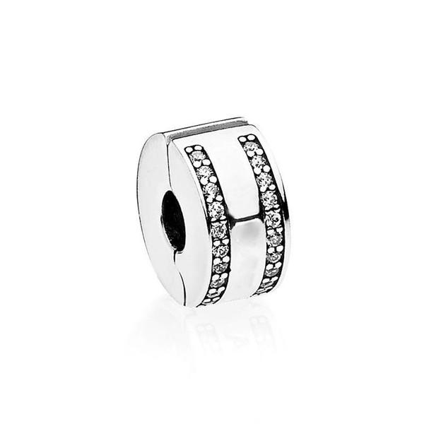 Ventas calientes Real de plata esterlina Circular clip fijo con Clear CZ Stone Fit Pandora Silver Charms joyería fina pulsera DIY
