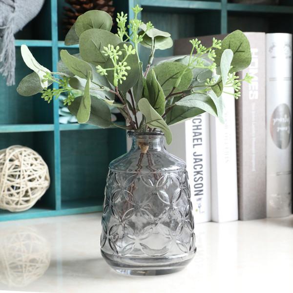 5 pcs/lot Artificial plants eucalyptus leaf fruit a bouquet 3 branch Fake plants for wedding decoration home decor Flower arrangement