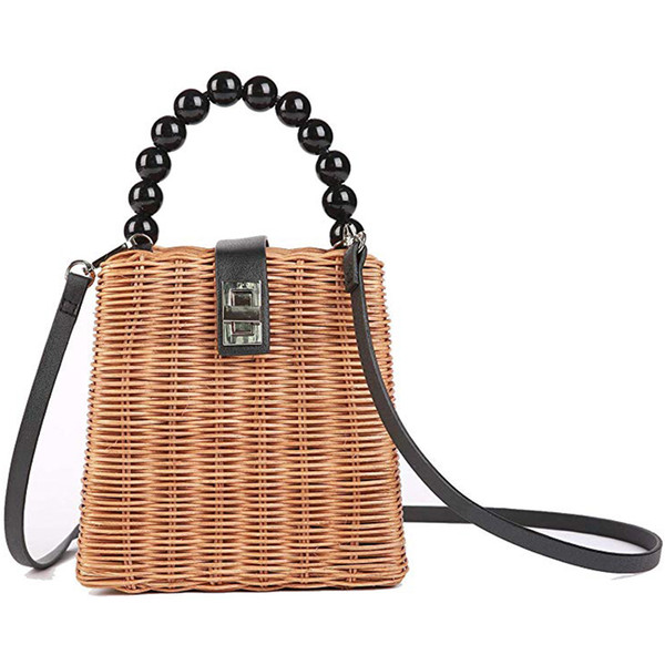 Large Handmade Straw Beach Bag with Inner Pouch Crossbody Shoulder Bag Summer Beach Tote with Top Handles