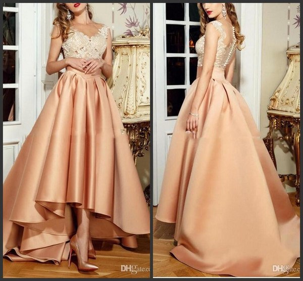 2019 New Vestido De Festa Hi Lo Arabic Prom Dress Long Formal Party Gowns Sexy Peach Evening Dresses Lebanon Lace High Low Evening Dress