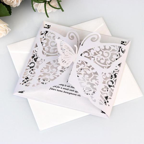 10pcs Inviti di nozze cartoline d'auguri del taglio del laser della farfalla della cavità Invito per matrimonio festa di compleanno cartoline di Natale