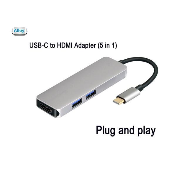 USB-C iPad to HDMI Hub Adapter 5 in 1 4K Aluminum microSD/SD Card 2USB 3.0 ports for Dell XPS 13 9350