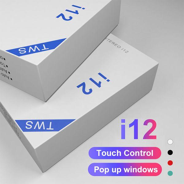 i12 tws V5.0 Drahtlose Bluetooth-Kopfhörer Ture Stereo-Kopfhörer Buntes Touch Control-Funk-Headset Earbuds Eject-Fenster