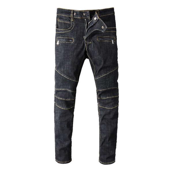 Fashion Streetwear Men Robin Jeans Vintage Black Spliced Designer Motor Biker Jeans Homme Multi Pockets Cargo Pants Hip Hop Jeans For Men
