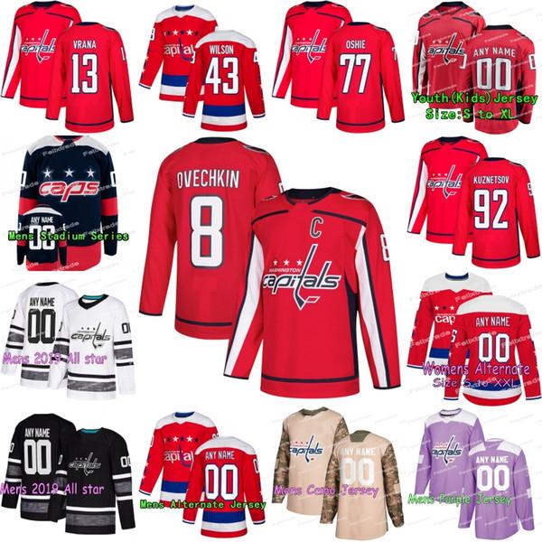 Washington Capitals-Trikots Alex Ovechkin-Trikot Tom Wilson T.J. Oshie Braden Holtby Evgeny Kuznetsov Eishockeytrikots