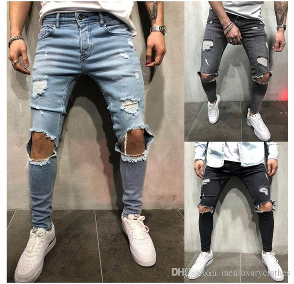 KNEE HOLES Designer Men Jeans Long Trousers Blue Grey Black Slim Fit Ripped Biker Jeans