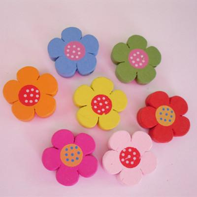 New cartoon colorful wooden Buttons for crafts DIY sunflower /Ladybug dolphin sewing supply scrapbooking accessories decorativos