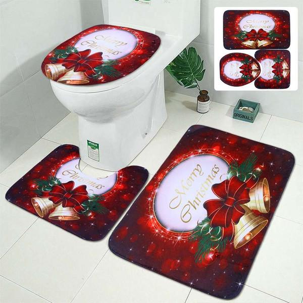 Albero di Natale della Bell 3Pcs bagno Mats Set Anti-Slip igienici terra Cucina Moquette Porta stuoie arredamento caldo molle dell'ammortizzatore WC copertina
