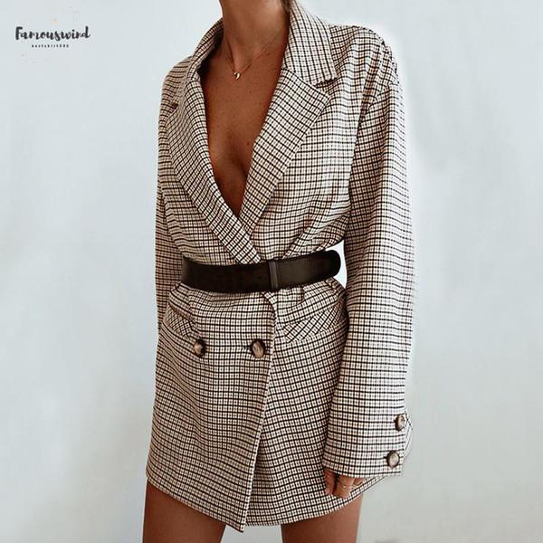 elegant lady blazer dress winter autumn women long sleeve oversized jacket office plaid wrap bodycon casual streetwear