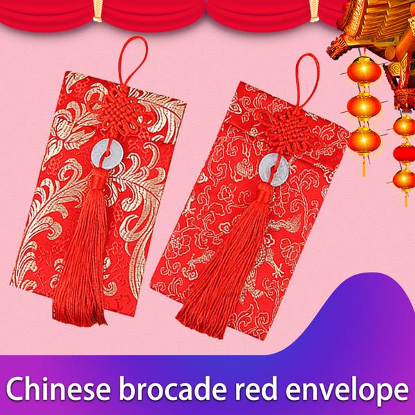 Noeud Chinois Anneaux De Jade Paquets D'argent Enveloppes De Brocart Rouge Exquis Dragon Phoenix Modèle Portefeuille En Soie Tissu De Mariage