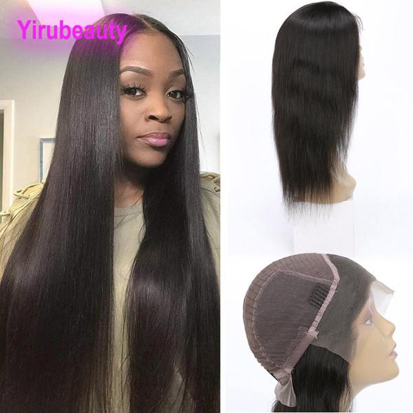 Perulu İşlenmemiş İnsan Saç Dantel Ön Peruk Doğal Saç Çizgisi Ayarlanabilir Ipeksi Düz 8-30 inç Bakire Saç Dantel Peruk Ürünleri