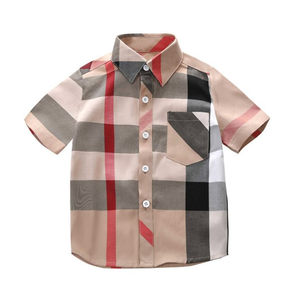 Boys Designer Shirts 2019 Summer New Luxury T Shirt British Style Plaid Tops Casual Gentleman Boy Wearing Childrens Clothings Thin Jackets