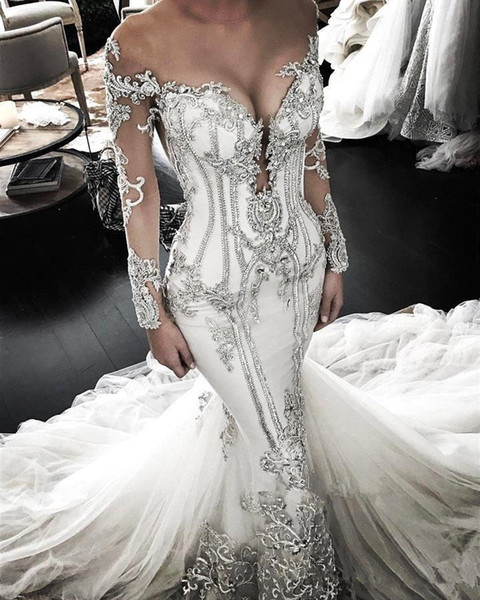Sheer Mesh Top Lace Mermaid Wedding Dresses 2019 Tulle Lace Applique Beaded Crystals Long Sleeves Wedding Bridal Gowns with detachable train